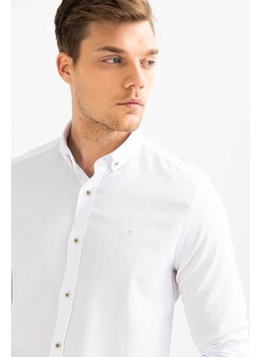 Avva Erkek  Armürlü Düğmeli Yaka Slim Gömlek A01S2301 Beyaz